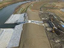 建設が進む千歳川遊水地