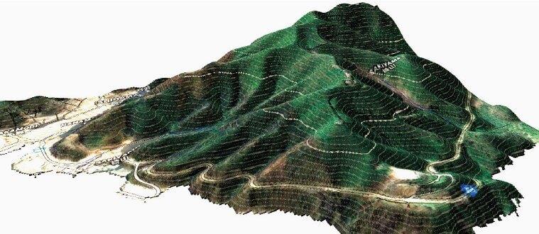 「3D地形モデル」と「斜面崩壊危険度解析結果」